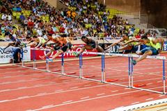 Pascal Martinot-Lagarde leads the 110m hurdles at the IAAF Diamond League meeting in Monaco (Philippe Fitte)