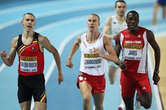 (L-R) Jan Van Den Broeck of Belgium, Marcin Lewandowski of Poland and Jamaal james of Trinidad and Tobago race for the line in the Men's 800 Metres first round during day one -WIC Istanbul  (Getty Images)