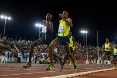 Kenya's Asbel Kiprop on his way to winning the 1500m in Doha (Deca Text & Bild)