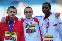Gold medal winner Gael LEVECQUE of France (c) celebrates with Silver medalist Usman USMANOV of Russia and Justin FONDREN of USA after the Boys High Jump final during day fou (Getty Images)