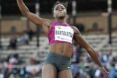 Tianna Bartoletta at the 2014 IAAF Diamond League meeting in Stockholm (DECA Text & Bild)
