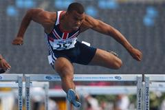 Alex Al-Ameen of GBR in the Men's 110m Hurdles 1st round (Getty Images)