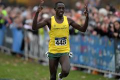 Edward Cheserek wins at the 2015 NCAA Cross Country Championships (Kirby Lee)