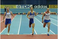 Erki Nool (ESP) competing in the 60m of the Heptathlon (Getty Images)