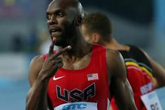 LaShawn Merritt after the USA won the 4x400m relay at the IAAF/BTC World Relays, Bahamas 2015 (Getty Images)