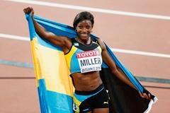Shaunae Miller celebrates her 400m silver in Beijing ()