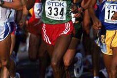 Simeretu Alemayehu (ETH) running in the 2001 World Championships (Getty Images)