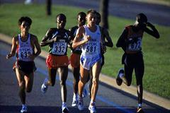 Stefano Baldini heads the field in the 2001 World championships Marathon (bronze medallist) (Getty Images)