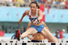 Aleksandra Fedorvia of Russia in the women's 100m Hurdles (Getty Images)