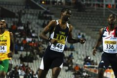 Delano Williams of Turks and Caicos Islands (R) crosses the finish line for winning the Men's 200 metres Final on the day four of the 14th IAAF World Junior Championships in Barcelona (Getty Images)