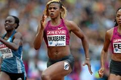 Blessing Okagbare on her way to winning the 200m at the IAAF Diamond League meeting in Paris (Jiro Mochizuki)