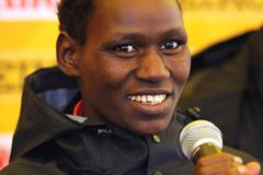Emily Chebet, Kenya's World champion at the 2010 edition held in Bydgoszcz, answering questions at the IAAF Press Conference for the 40th edition of the IAAF World Cross Country Championships in Bydgoszcz, Poland, Saturday 23 March (Getty Images)
