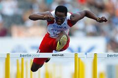 Dayron Robles of Cuba scrapes an automatic qualifying place into the men's 110m hurdles semi-finals in Berlin (Getty Images)