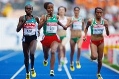 (L-R) Sylvia Jebiwott Kibet of Kenya, Sentayehu Ejigu and Meselech Melkamu of Ethiopia in the women's 5000m heats (Getty Images)