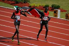 Rutto and Kiprono celebrate victory in 2000 Steeplechase (IAAF)