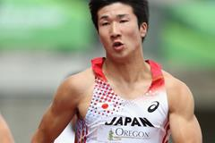 Yoshihide Kiryu in the 100m heats at the 2014 IAAF World Junior Championships in Eugene (Getty Images)