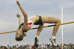 Annett Engel of Germany during the women's High Jump final (Getty Images)