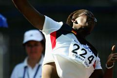 Samira Burkhardt of Germany wins the silver medal in the Shot Put final (Getty Images)