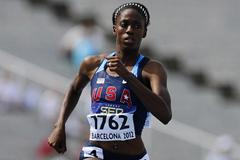Ashley Spencer of United States competes on the Women's 400 metres qualification heat on the day two of the 14th IAAF World Junior Championships in Barcelona 2012 (Getty Images)