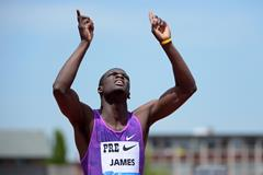 Kirani James at the 2015 IAAF Diamond League meeting in Eugene (Kirby Lee)