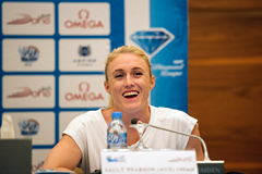 Sally Pearson at the press conference ahead of the IAAF Diamond League meeting in Doha (DECA Text & Bild)