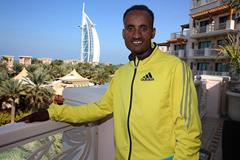 Atsedu Tsegay ahead of the 2014 Standard Chartered Dubai Marathon (Organisers / Gianfranco Colombo)