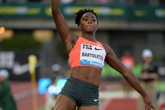 Tianna Bartoletta at the 2015 IAAF Diamond League meeting in Eugene (Kirby Lee)