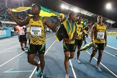 Jamaican quartet after their men's 4x200m World record at the 2014 IAAF World Relays (Getty Images)