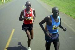 Kiprop and Kibet running in the 2008 Ugandan Road Running Champs (Daniel Senfuma)