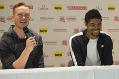Greg Rutherford and Michel Torneus ahead of the 2015 IAAF Diamond League meeting in Stockholm (DECA Text&Bild)