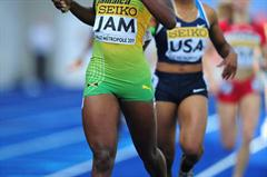 Gold medalist Olivia James of Jamaica crosses the line to win the Girls Medley final - Day Five - WYC Lille 2011 (Getty Images)