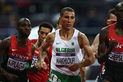Taoufik Makhloufi of Algeria leads the pack in the men's 1500m final at the 2012 Olympics (Getty Images)