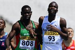 Nijel Amos of Botswana and Elnazeer Abdelgader won their Men's 800 metres qualifications heat on the day four of the 14th IAAF World Junior Championships in Barcelona on 13 July 2012 (Getty Images)