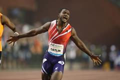 Justin Gatlin winning the 100m at the 2014 IAAF Diamond League final in Brussels ()