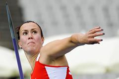 Marija Vucenovic of Serbia competes during the Women's Javelin Throw qualification round on the day one of the 14th IAAF World Junior Championships in Barcelona on 10 July 2012 (Getty Images)