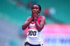 Alia Saeed Mohammed after winning the 10,000m at the 2015 Asian Championships (Asian Championships LOC / AAA)