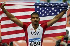 Terrence Trammell of USA celebrates his victory in the men's 60m Hurdles final (Getty Images)