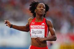 Kelly-Ann Baptiste of Trinidad and Tobago competes in the women's 200m heats in Berlin (Getty Images)
