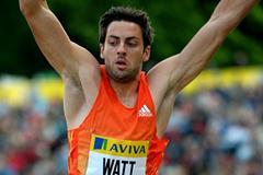 Mitchell Watt leaps to 8.28m in Crystal Palace (Mark Shearman)