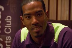Christian Taylor at the Doha 2014 IAAF Diamond League press points (Doha LOC)