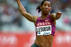 Long jump winner Eloyse Lesueur at the IAAF Diamond League meeting in Paris (Jiro Mochizuki)