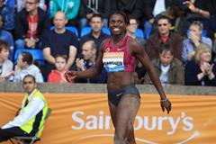 Caterine Ibarguen at the 2014 IAAF Diamond League meeting in Birmingham (Jean-Pierre Durand)