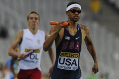 Arman Hall of United States going for gold  the Men's 400 metres Relay Final on day six of the 14th IAAF World Junior Championships in Barcelona on 15 July 2012 (Getty Images)