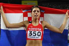 Blanka Vlasic of Croatia celebrates her gold medal in the High Jump Final (Getty Images)