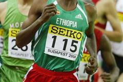Markos Geneti (ETH) in action in the men's 3000m heats (Getty Images)