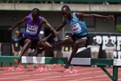 Jairus Birech and Ezekiel Kemboi at the 2015 IAAF Diamond League meeting in Eugene (Kirby Lee)