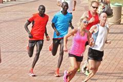 Dennis Kimetto and Wilson Kipsang in the Umhlanga parkrun on 15 November ()