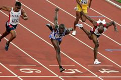 Ladji Doucoure crosses the line en route to gold in Helsinki (Getty Images)