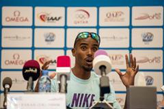 Mo Farah at the press conference ahead of the IAAF Diamond League meeting in Doha (DECA Text & Bild)