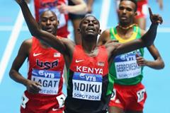 Caleb Ndiku in the 3000m at the 2014 IAAF World Indoor Championships in Sopot (Getty Images)